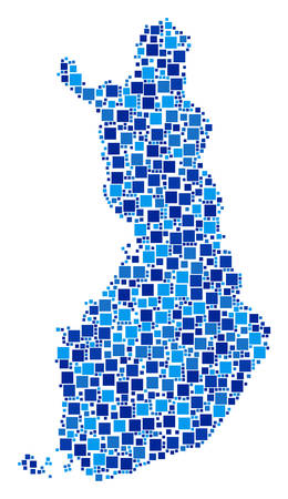 Finland map collage of randomized filled squares in variable sizes and blue color tints. Vector rectangle items are grouped into Finland map composition. Abstract cartography scheme design concept. Illustration