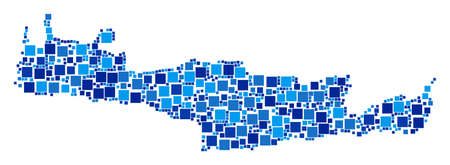 Crete Island map collage of randomized filled squares in various sizes and blue color hues. Vector square pixels are arranged into Crete Island map collage. Abstract geographical plan design concept.