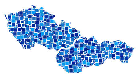Czechoslovakia map collage of random dots in variable sizes and blue color tones. Vector small square are grouped into Czechoslovakia map composition. Abstract geographic plan design concept.  イラスト・ベクター素材