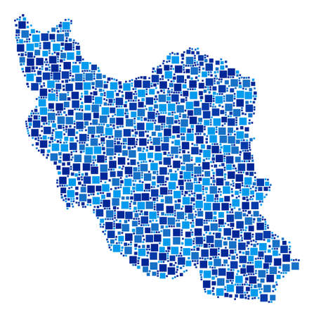 Iran map collage of random square elements in various sizes and blue shades. Vector small square are grouped into Iran map collage. Abstract cartography plan design concept. 向量圖像