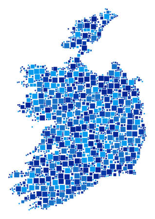 Ireland Republic map composition of randomized filled squares in various sizes and blue color tinges. Vector square pixels are combined into Ireland Republic map collage.