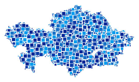 Kazakhstan map collage of scattered filled squares in different sizes and blue shades. Vector square pixels are composed into Kazakhstan map collage. Abstract geographical scheme vector illustration.