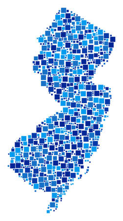 New Jersey State map mosaic of randomized dots in variable sizes and blue shades. Vector square dots are composed into New Jersey State map composition. Abstract geographic scheme vector illustration.