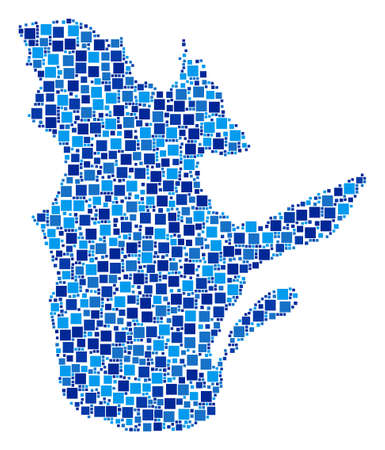 Quebec Province map mosaic of random filled squares in different sizes and blue color tones. Vector dots are combined into Quebec Province map illustration.