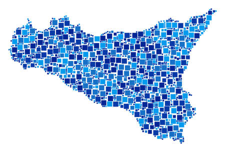 Sicilia map mosaic of scattered dots in different sizes and blue shades. Vector small square are combined into Sicilia map illustration. Abstract cartography plan vector illustration.
