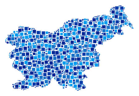 Slovenia map mosaic of scattered dots in different sizes and blue color tones. Vector rectangle items are organized into Slovenia map composition. Abstract geography scheme design concept.