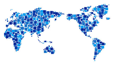World map mosaic of scattered dots in variable sizes and blue color tints. Vector square dots are united into world map illustration. Abstract geography plan design concept.