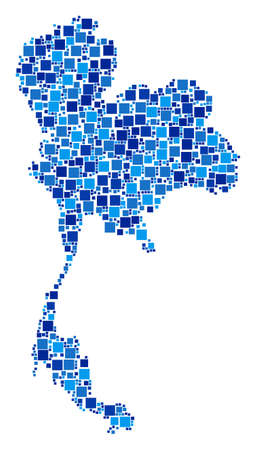 Thailand map composition of randomized square elements in variable sizes and blue shades. Vector dots are organized into Thailand map collage. Abstract geography plan vector illustration. Иллюстрация