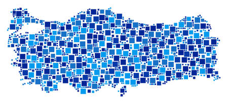 Turkey map composition of randomized dots in various sizes and blue shades. Vector small square are organized into Turkey map collage. Abstract geographical scheme design concept.  イラスト・ベクター素材