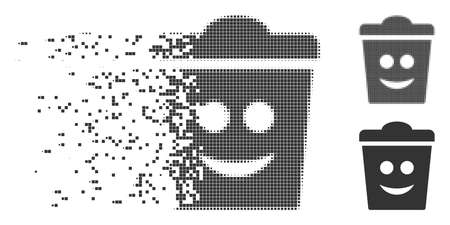 Grey vector dustbin smile icon in dispersed, dotted halftone and undamaged entire versions. Rectangular dots are used for disintegration effect.