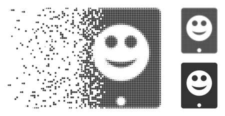 Grey vector pad smile icon in dissolved, dotted halftone and undamaged solid variants. Rectangle dots are used for disappearing effect. Pieces are arranged into dissipated pad smile figure.