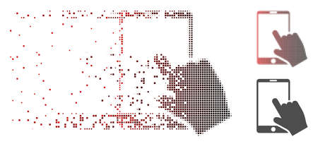 Vector touch smartphone icon in sparkle, pixelated halftone with red to black horizontal gradient and undamaged solid variants. Disappearing effect uses rectangle dots. Illustration