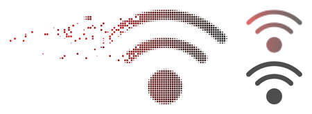 Vector Wi-Fi icon in fractured, pixelated halftone with red to black horizontal gradient and undamaged solid variants. Disintegration effect uses rectangular sparks.