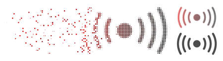 Vector Wi-Fi point icon in sparkle, pixelated halftone with red to black horizontal gradient and undamaged whole versions. Disintegration effect involves rectangle particles.