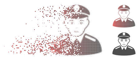 Vector soldier icon in dissolved, pixelated halftone with red to black horizontal gradient and undamaged solid variants. Disappearing effect uses rectangle dots.