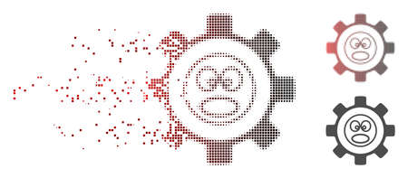 Vector service gear shout smiley icon in dissolved, pixelated halftone with red to black horizontal gradient and undamaged entire versions. Disintegration effect involves rectangle particles.