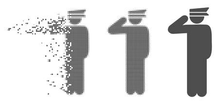 Gray vector police officer icon in fractured, dotted halftone and undamaged whole variants. Disintegration effect involves rectangle dots. Pieces are grouped into dissolving police officer icon.