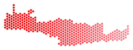 Red circle dot Crete Island map. Geographic plan in red color with horizontal gradient. Vector composition of Crete Island map done of spheric dot array.