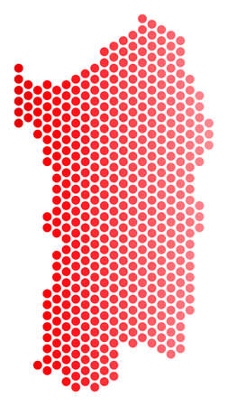 Italienische Karte Sardinien der roten runden Stelle. Geografisches Schema in roter Farbe mit horizontalem Farbverlauf. Vektorkonzept der italienischen Sardinien-Inselkarte gemacht vom kugelförmigen Punktmuster.