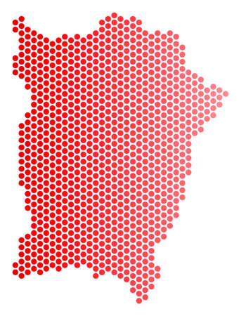 Red dotted Penang Island map. Geographic plan in red color with horizontal gradient. Vector collage of Penang Island map made of round spot pattern.