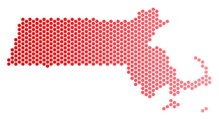 Red pixelated Massachusetts State map. Geographic plan in red color with horizontal gradient. Vector composition of Massachusetts State map organized of sphere point matrix.