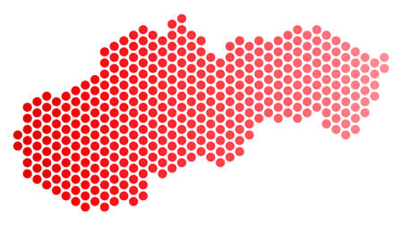 Red round spot Slovakia map. Geographic plan in red color with horizontal gradient. Vector concept of Slovakia map created of sphere blot array.