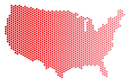 Red round spot USA map. Geographic plan in red color with horizontal gradient. Vector concept of USA map designed of round dot matrix.