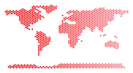 Red circle dot world continent map. Geographic plan in red color with horizontal gradient. Vector composition of world continent map combined of circle blot pattern.
