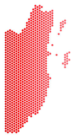 Red dotted Belize map. Geographic scheme in red color with horizontal gradient. Vector mosaic of Belize map made of circle dot pattern.