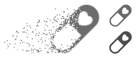 Gray vector love granule icon in fractured, dotted halftone and undamaged solid variants. Disappearing effect involves rectangular particles. Pixels are arranged into dissipated love granule form.