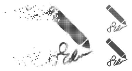 Gray vector sign pencil icon in dispersed, dotted halftone and undamaged solid versions. Disappearing effect involves rectangular particles. Pieces are combined into dissipated sign pencil pictogram.