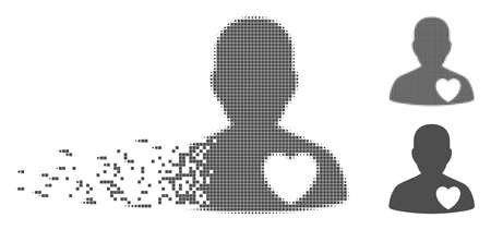Gray vector love heart guy icon in dispersed, pixelated halftone and undamaged entire variants. Disappearing effect uses square particles. Elements are organized into dispersed love heart guy form.