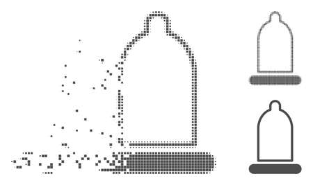 Grey vector condom icon in dispersed, dotted halftone and undamaged solid versions. Disintegration effect uses square particles. Particles are arranged into disappearing condom figure. Ilustracja