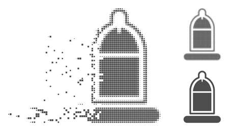 Gray vector condom usage icon in dispersed, pixelated halftone and undamaged solid variants. Disintegration effect uses rectangle particles. Cells are grouped into dissolving condom usage pictogram. Ilustracja