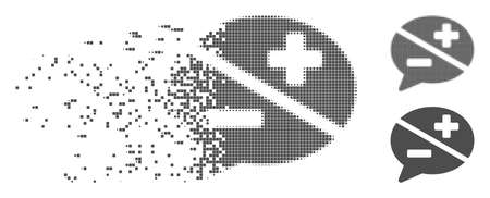 Grey vector dispute icon in dispersed, dotted halftone and undamaged entire versions. Disappearing effect involves rectangular particles. Elements are combined into dissolving dispute shape. Illustration