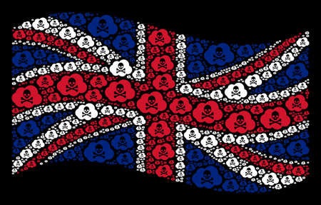 Waving British flag on a black background. Vector toxic smoke icons are grouped into mosaic Great Britain flag illustration. Patriotic collage composed of toxic smoke icons.