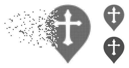 Grey vector Christian cross marker icon in dissolved, dotted halftone and undamaged solid variants. Disintegration effect uses square dots.