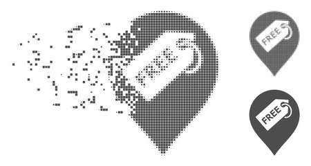 Gray vector free tag marker icon in dissolved, dotted halftone and undamaged whole variants. Disintegration effect uses rectangular particles. Cells are grouped into dissipated free tag marker symbol.