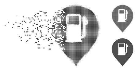 Gray vector fuel station marker icon in fractured, pixelated halftone and undamaged entire versions. Disappearing effect involves square dots.