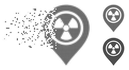 Grey vector radioactive marker icon in dissolved, pixelated halftone and undamaged entire versions. Disintegration effect involves rectangular particles.