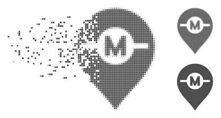 Grey vector motor marker icon in dispersed, dotted halftone and undamaged whole versions. Disintegration effect involves square dots. Particles are arranged into dissolving motor marker icon.