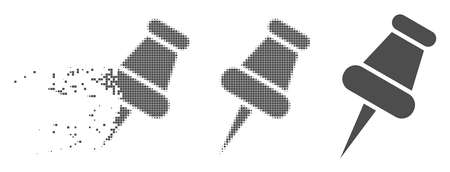 Gray vector pin icon in fractured, pixelated halftone and undamaged solid variants. Disappearing effect uses rectangular dots. Fragments are grouped into disappearing pin figure.