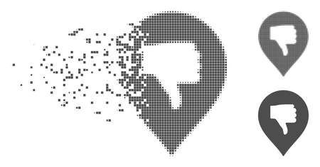Gray vector thumb down marker icon in dispersed, dotted halftone and undamaged whole variants. Disappearing effect involves rectangle dots. Pieces are arranged into dissolving thumb down marker shape. Illustration