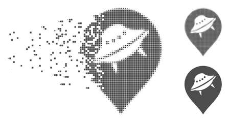 Grey vector UFO marker icon in fractured, dotted halftone and undamaged solid variants. Disintegration effect uses square particles. Particles are composed into dispersed UFO marker form.