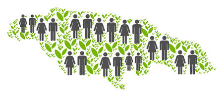 People population and flora plants Jamaica map. Vector pattern of Jamaica map formed of randomized lady and gentleman and flora elements in different sizes. Illustration