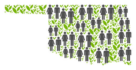 People population and green plants Oklahoma State map. Vector composition of Oklahoma State map constructed of random human and sprout items in various sizes.