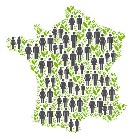 People population and grass France map. Vector abstraction of France map composed of randomized gender and plantation items in different sizes.