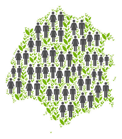 People population and green plants Thassos Greek Island map. Vector collage of Thassos Greek Island map constructed of scattered male and female and plantation elements in various sizes. Illustration