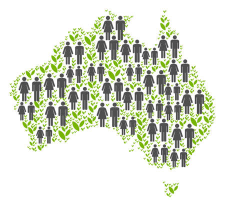 People population and ecology Australia map. Vector mosaic of Australia map formed of randomized human and grass items in variable sizes. Abstract social visualization of national mass cartography.