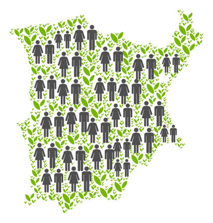 People population and green plants Koh Samui map. Vector abstraction of Koh Samui map formed of random gender and agriculture elements in various sizes. Illustration